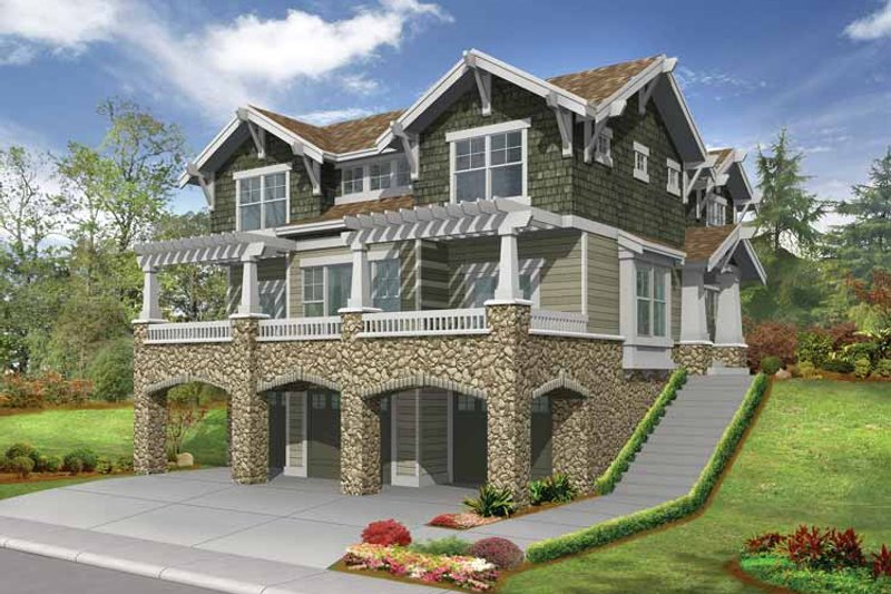Architectural House Design - Craftsman Exterior - Front Elevation Plan #132-312