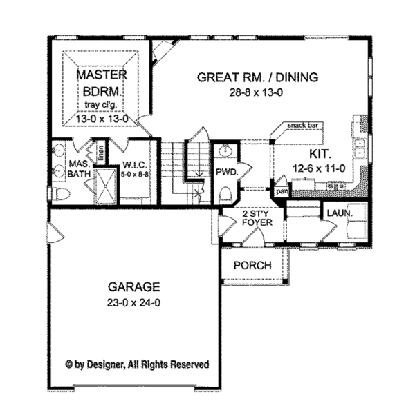 Colonial Floor Plan - Main Floor Plan Plan #1010-99