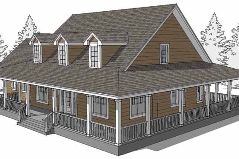 Country Exterior - Rear Elevation Plan #64-293 - Houseplans.com