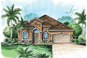 House Design - Mediterranean Exterior - Front Elevation Plan #1017-50