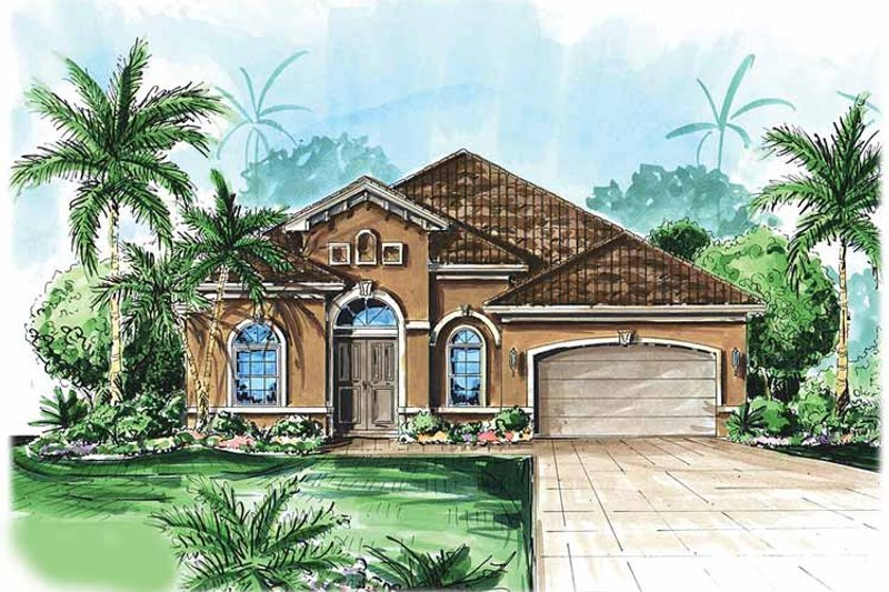 Mediterranean Exterior - Front Elevation Plan #1017-50