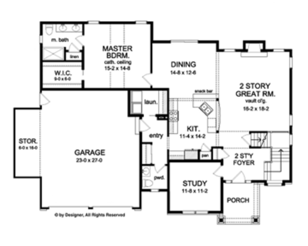 Colonial Floor Plan - Main Floor Plan Plan #1010-52