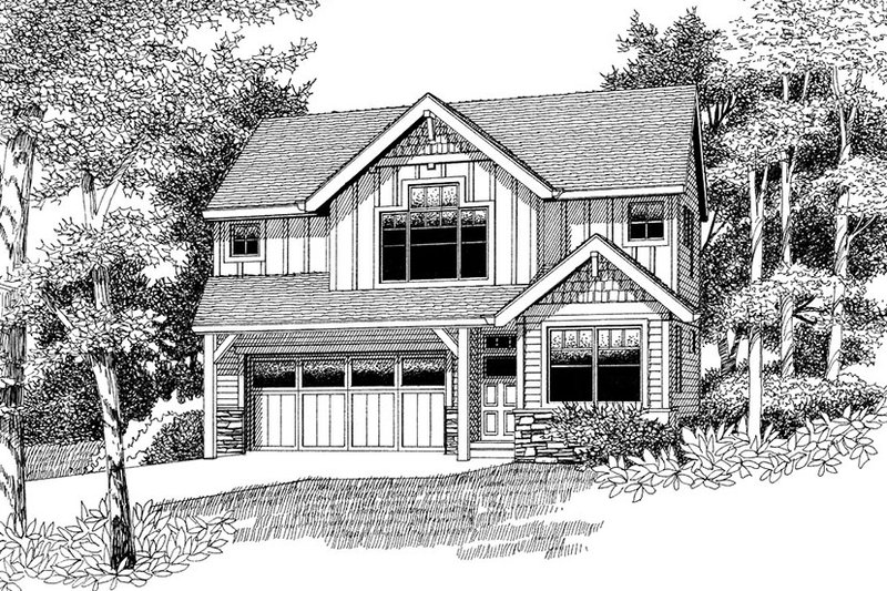 Architectural House Design - Country Exterior - Front Elevation Plan #53-580