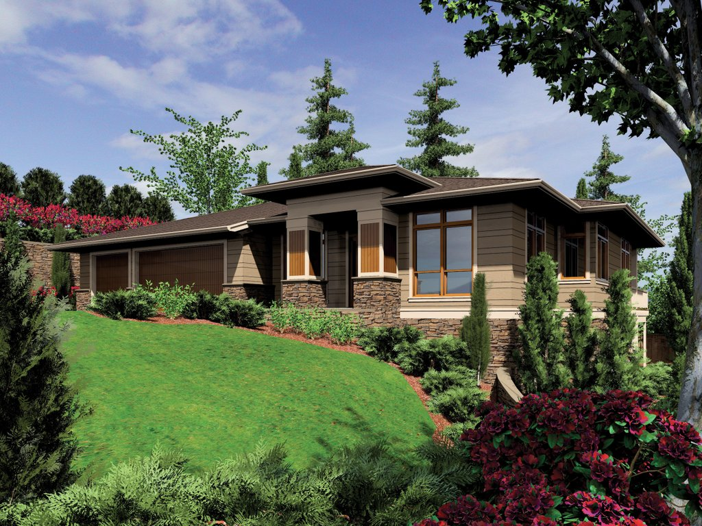 Prairie style house plan 4 beds 4 baths 3682 sq ft plan for Homplans