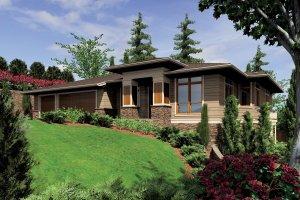 House Blueprint - Prairie Exterior - Front Elevation Plan #48-605
