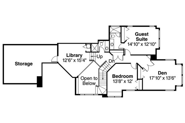 European Floor Plan - Upper Floor Plan Plan #124-349