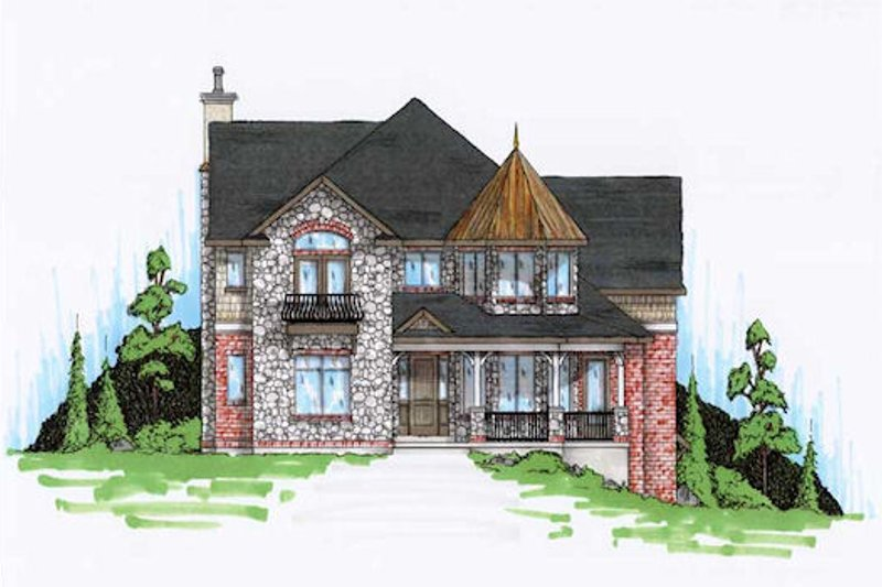 Victorian Exterior - Front Elevation Plan #5-420