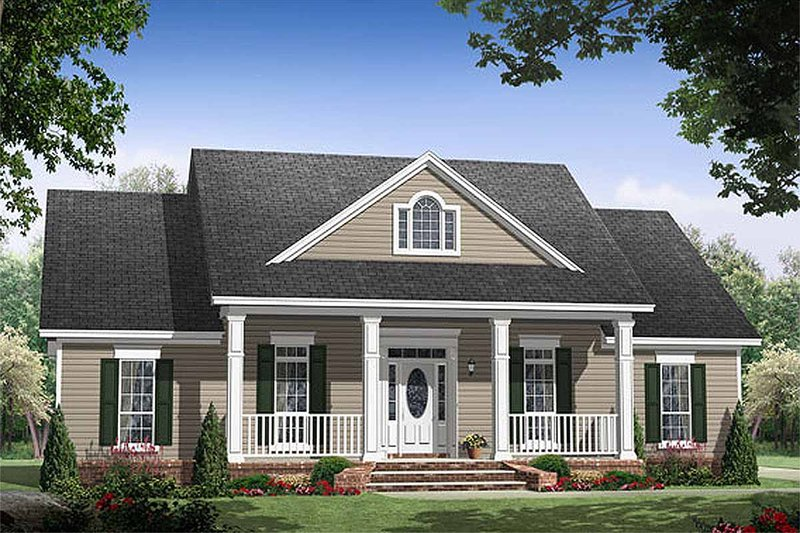 House Plan Design - Southern style plan 21-255 front elevation