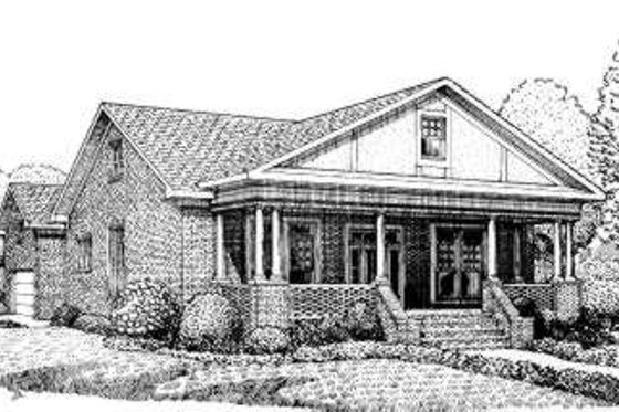 Southern Exterior - Front Elevation Plan #306-110