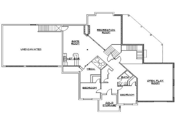 European Floor Plan - Lower Floor Plan Plan #5-434