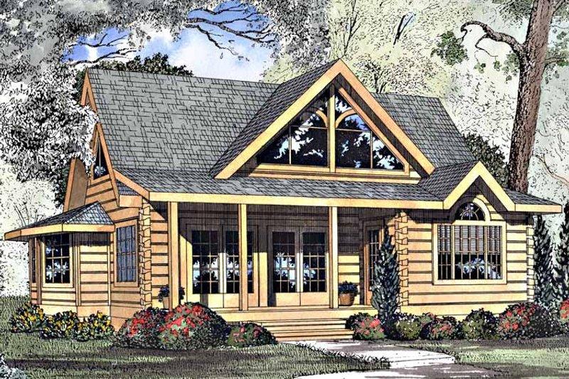 Log Exterior - Front Elevation Plan #17-3133 - Houseplans.com
