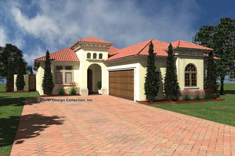 Mediterranean Style House Plan - 3 Beds 3 Baths 1892 Sq/Ft Plan #930-432 Exterior - Front Elevation