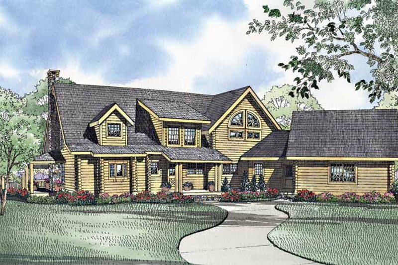 Log Exterior - Rear Elevation Plan #17-2940