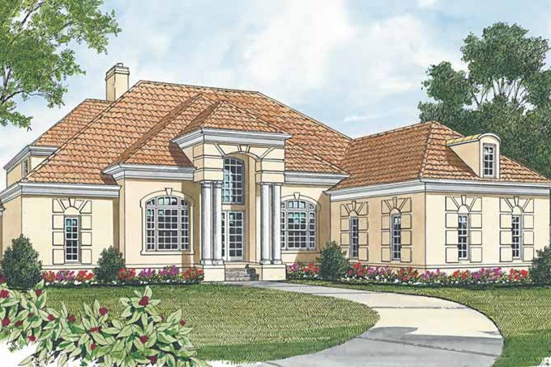 Mediterranean Exterior - Front Elevation Plan #453-178