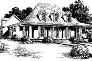 Southern Exterior - Front Elevation Plan #37-216