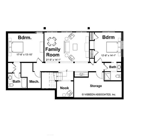 Craftsman Floor Plan - Lower Floor Plan Plan #928-78