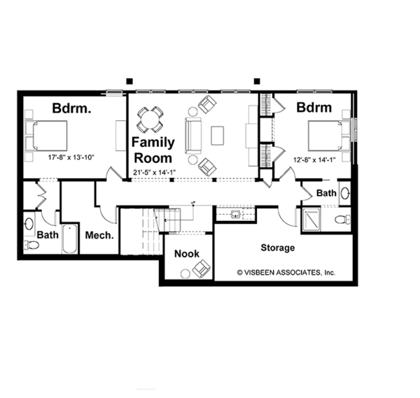 Craftsman Floor Plan - Lower Floor Plan Plan #928-78