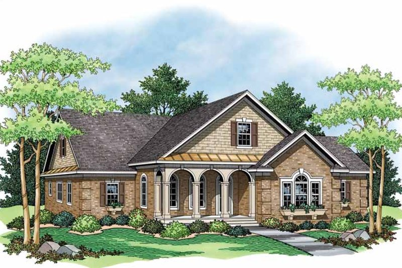 Colonial Exterior - Front Elevation Plan #51-1045