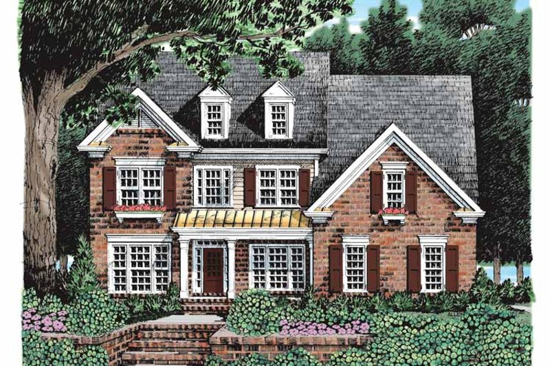 Colonial Exterior - Front Elevation Plan #927-927