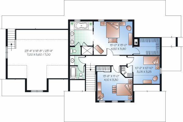 Farmhouse Floor Plan - Upper Floor Plan Plan #23-729