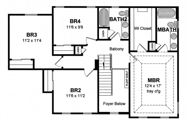 Colonial Floor Plan - Upper Floor Plan Plan #316-291