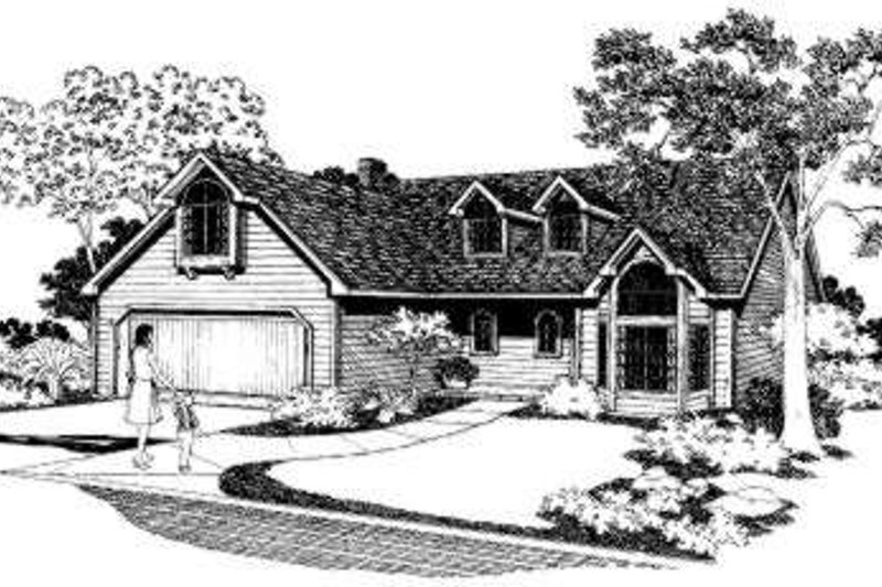 Traditional Style House Plan - 4 Beds 2.5 Baths 1868 Sq/Ft Plan #303-112 Exterior - Front Elevation