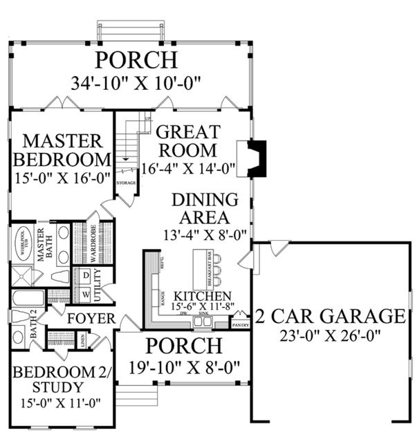 Country Floor Plan - Main Floor Plan Plan #137-372