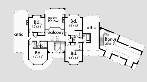 Country Floor Plan - Upper Floor Plan Plan #303-472