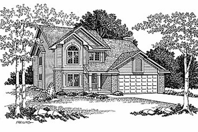 Traditional Style House Plan - 3 Beds 2.5 Baths 1924 Sq/Ft Plan #70-242 Exterior - Front Elevation
