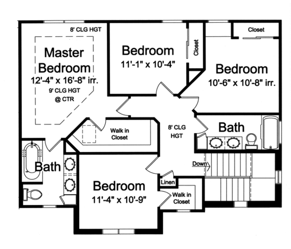 Traditional Floor Plan - Upper Floor Plan Plan #46-800