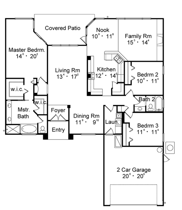 Mediterranean Floor Plan - Main Floor Plan Plan #417-831