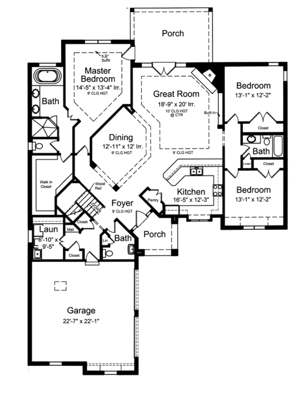 European Floor Plan - Main Floor Plan Plan #46-833