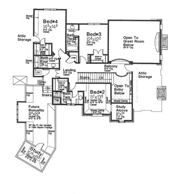 House Plan Design - European Floor Plan - Upper Floor Plan #310-1277