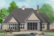 European Style House Plan - 4 Beds 3 Baths 2251 Sq/Ft Plan #929-1028 Exterior - Rear Elevation