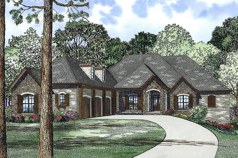 European Style House Plan - 3 Beds 4.5 Baths 4215 Sq/Ft Plan #17-2476 Exterior - Front Elevation