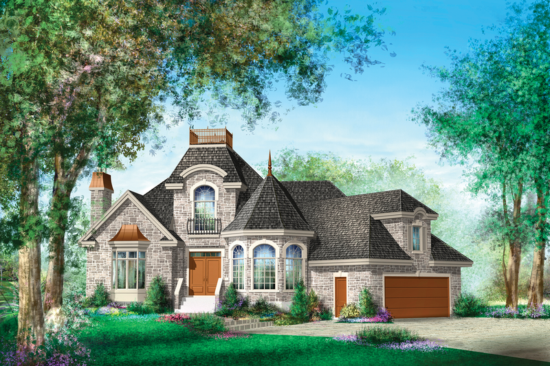 European Style House Plan - 2 Beds 2 Baths 5518 Sq/Ft Plan #25-4695 Exterior - Front Elevation