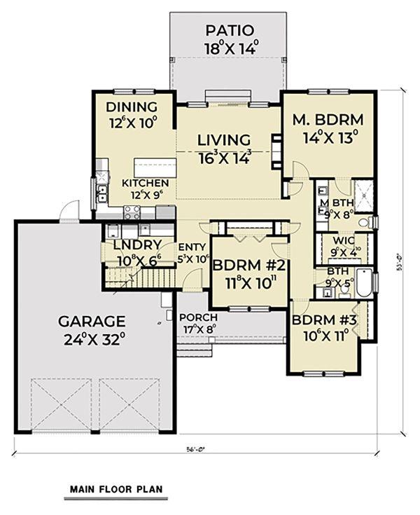 Craftsman Floor Plan - Main Floor Plan Plan #1070-46