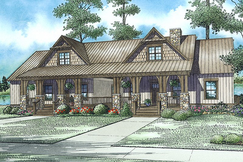 Cabin Exterior - Front Elevation Plan #17-2563 - Houseplans.com