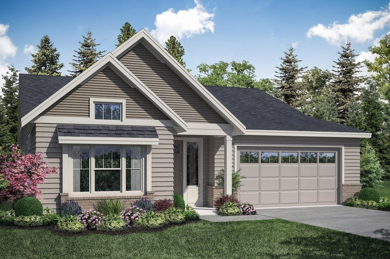 Craftsman Style House Plan - 3 Beds 2 Baths 1848 Sq/Ft Plan #124-1166 Exterior - Front Elevation