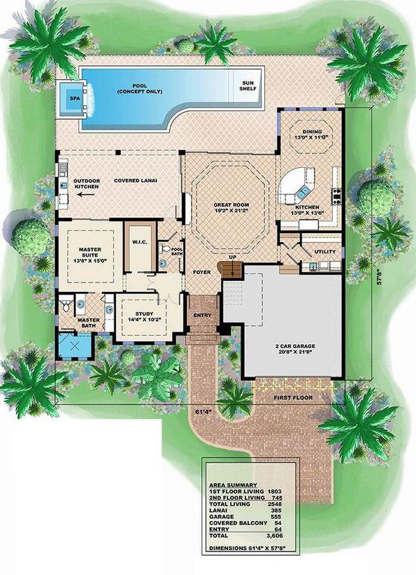 House Plan Design - Adobe / Southwestern Floor Plan - Main Floor Plan #27-458