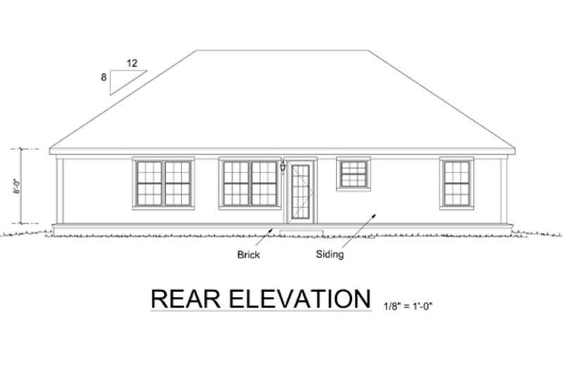 Cottage Exterior - Rear Elevation Plan #513-2055 - Houseplans.com
