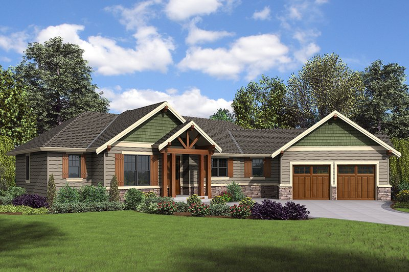 Craftsman Style House Plan - 3 Beds 2.5 Baths 1953 Sq/Ft Plan #48-952 Exterior - Front Elevation