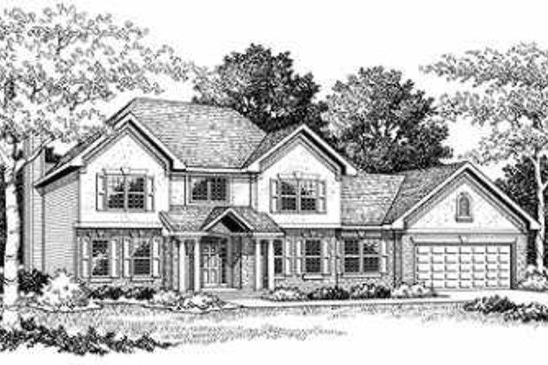 Bungalow Style House Plan - 4 Beds 2.5 Baths 3124 Sq/Ft Plan #70-491 Exterior - Front Elevation
