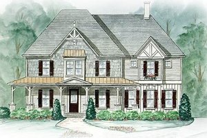 Southern Exterior - Front Elevation Plan #54-126