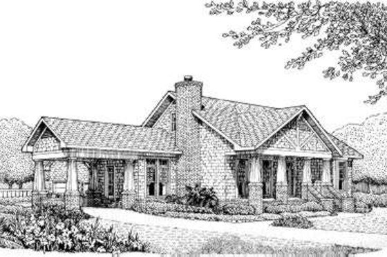 Southern Exterior - Front Elevation Plan #306-113