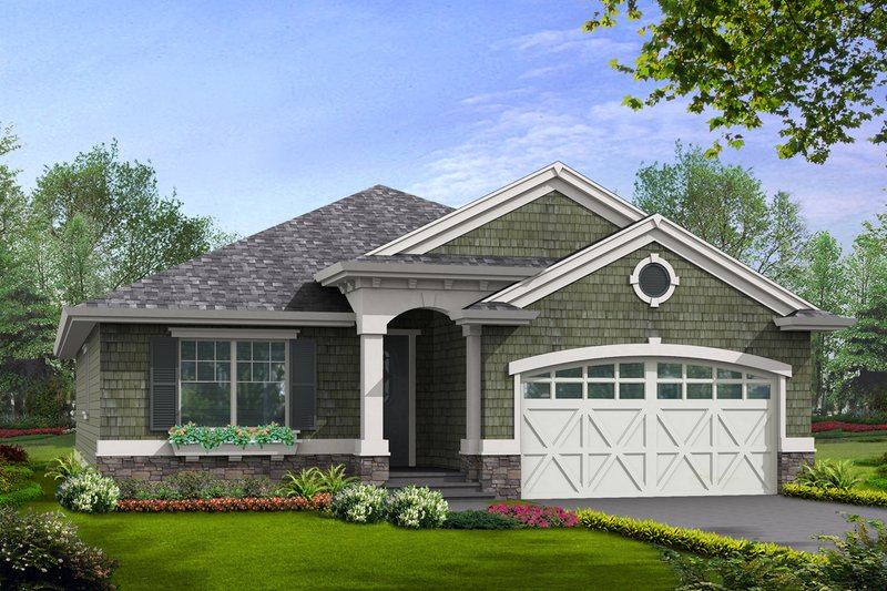 Traditional Style House Plan - 3 Beds 2 Baths 1488 Sq/Ft Plan #132-195 Exterior - Front Elevation