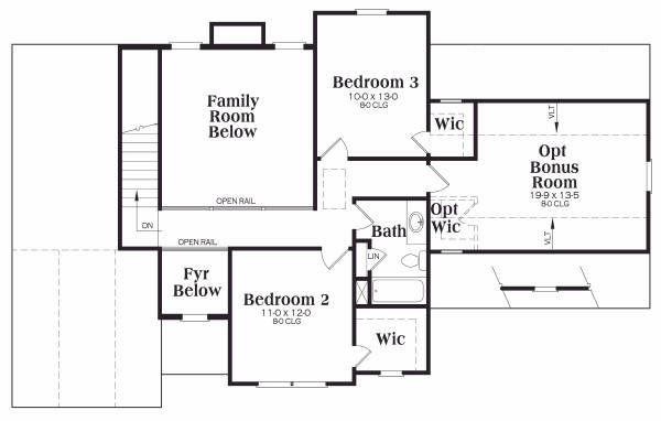 Traditional Floor Plan - Upper Floor Plan Plan #419-160