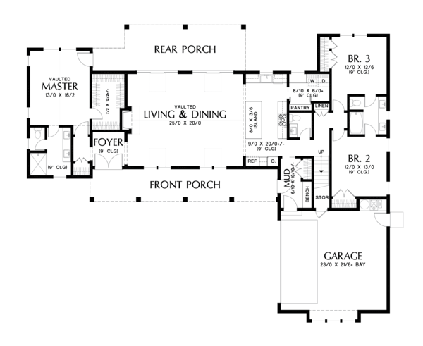 Farmhouse Floor Plan - Main Floor Plan #48-968