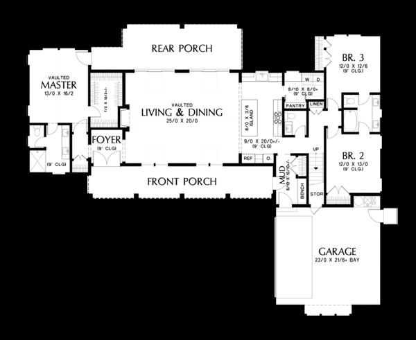 House Plan Design - Farmhouse Floor Plan - Main Floor Plan #48-968