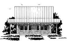 Log Exterior - Front Elevation Plan #942-51